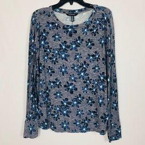 Ellen Tracy Size M Long Sleeve Floral Shirt